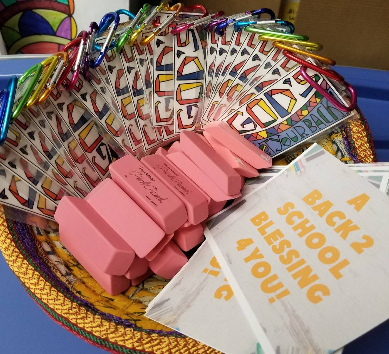 Back-to-school backpack tags display