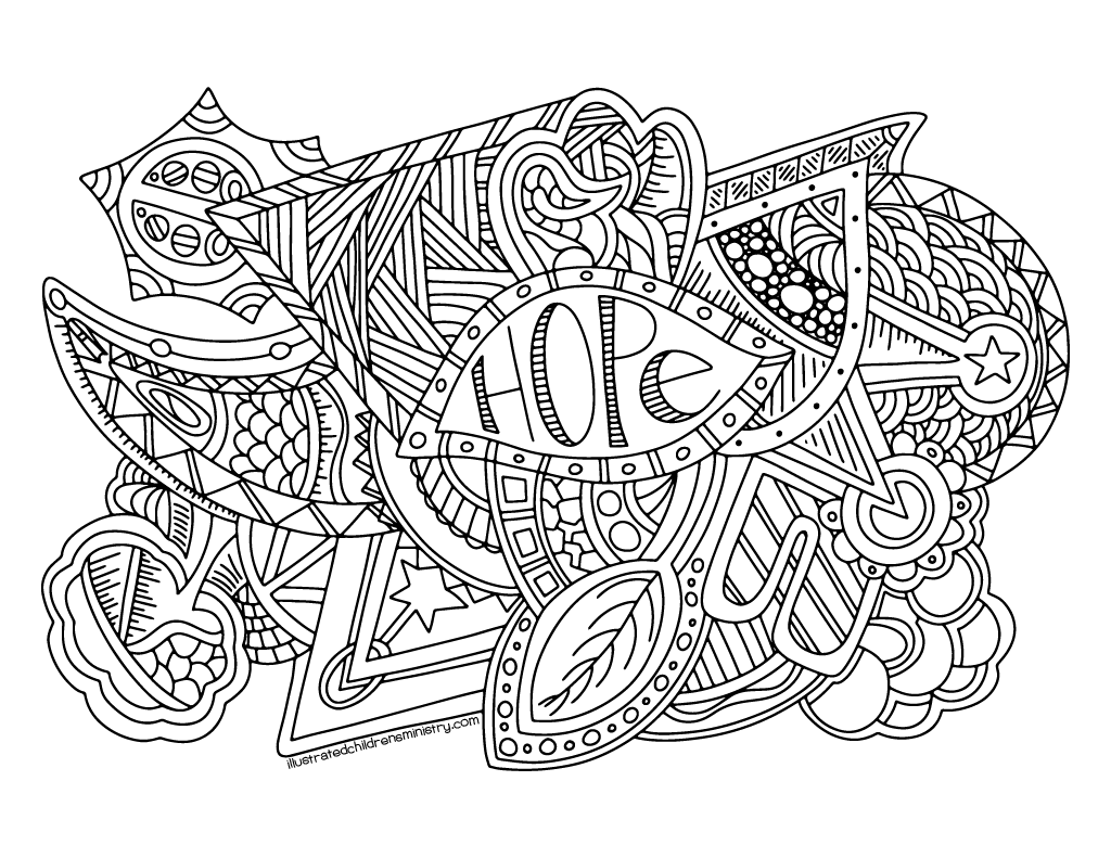 Hope coloring poster B&W