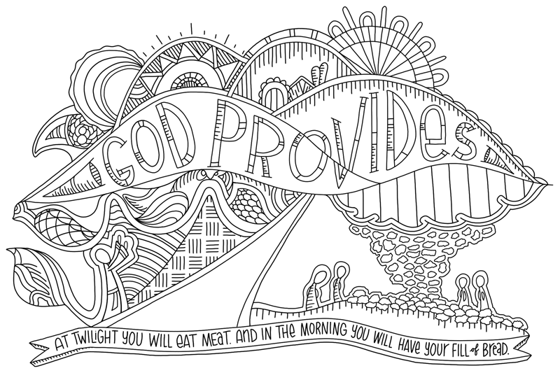 """God provides"" Coloring Poster B&W"