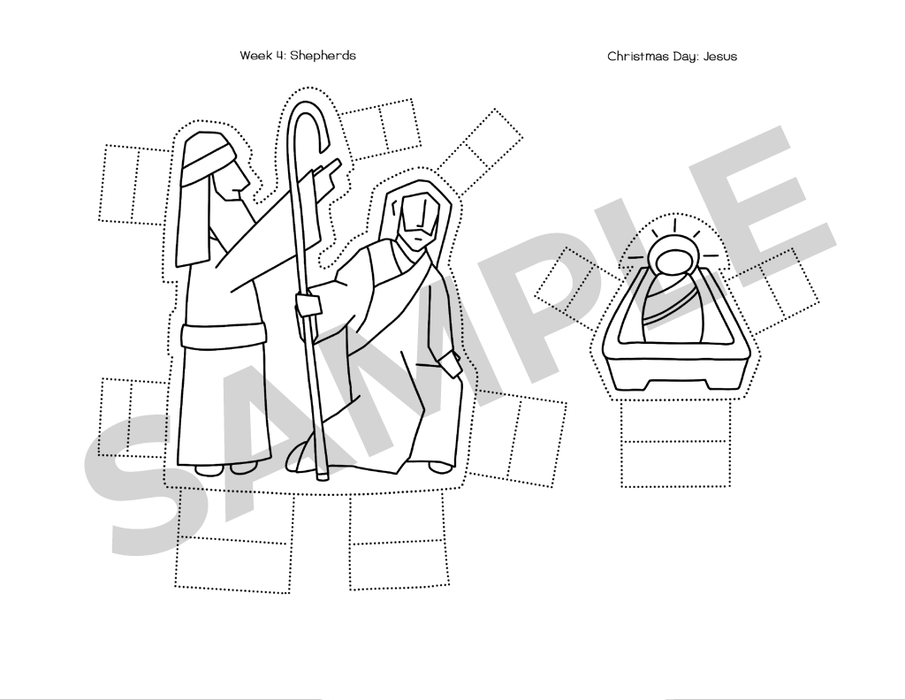 Cut-out Nativity shepherds and baby Jesus