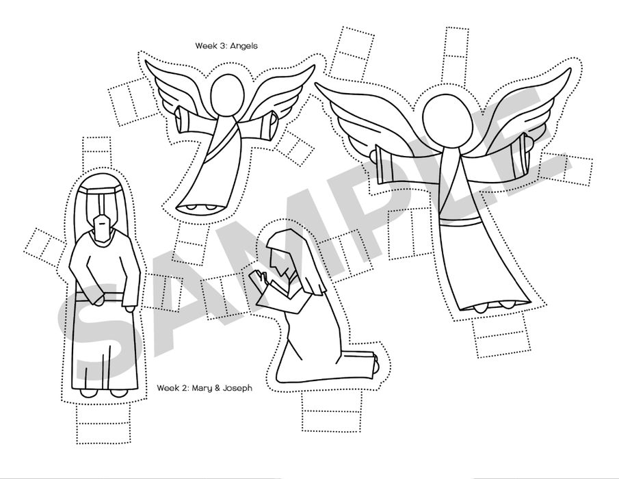 Cut-out Nativity angels