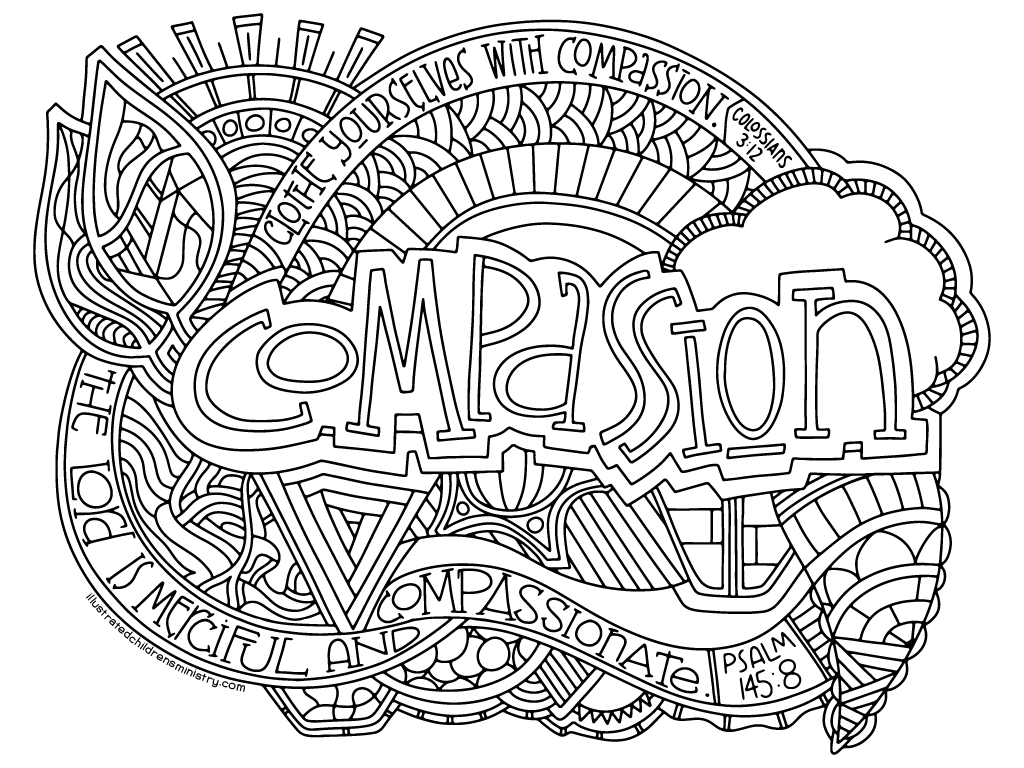 Illustrated Compassion Coloring Poster B&W