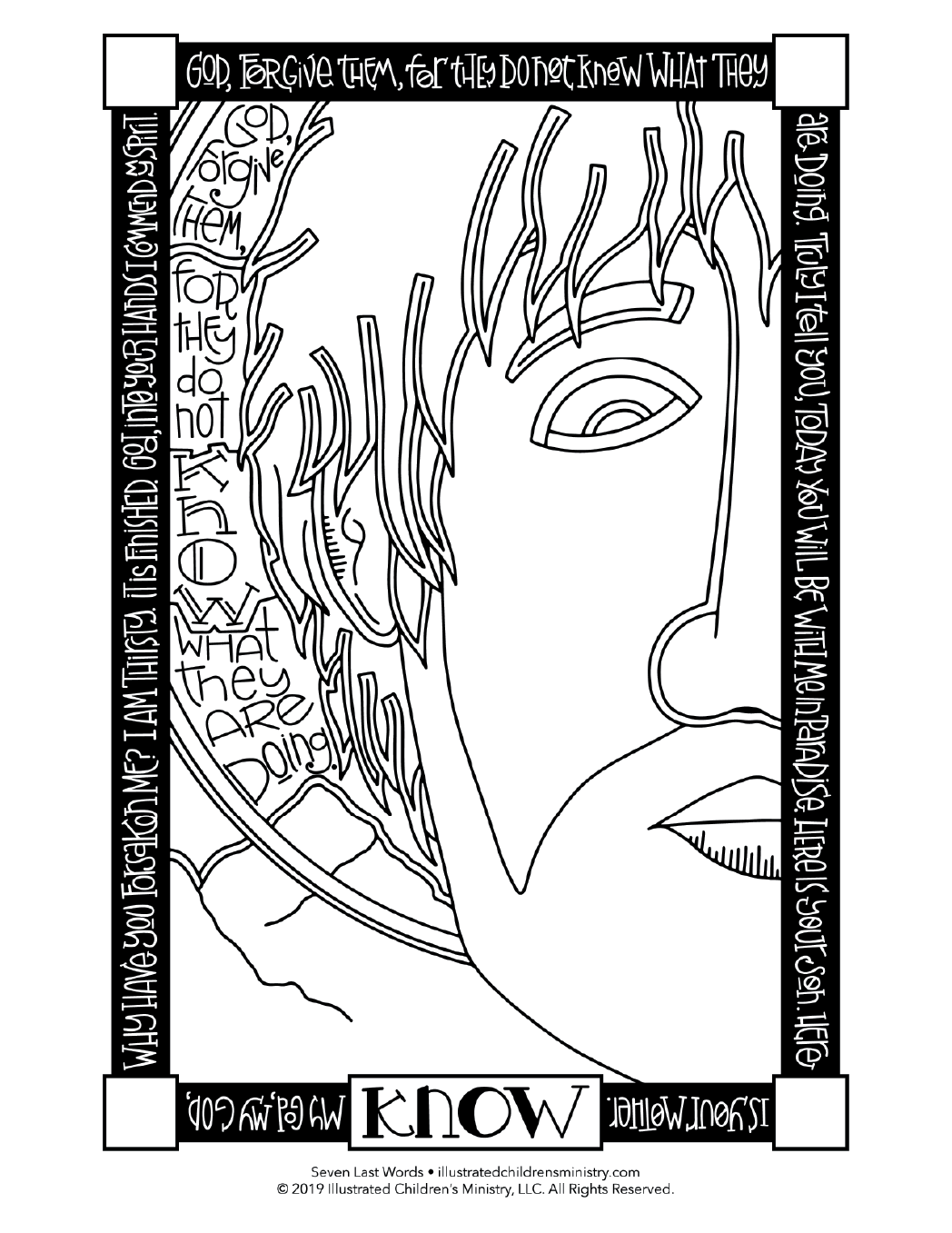 Seven Last Words coloring page simple - Know