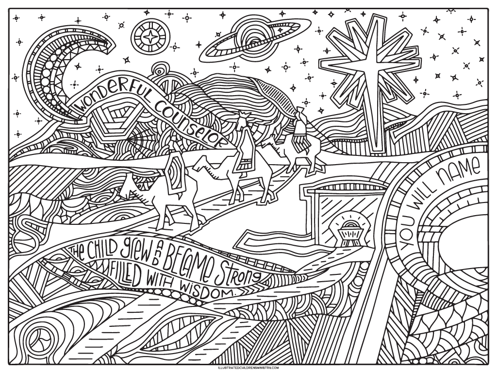 Three wisemen coloring poster