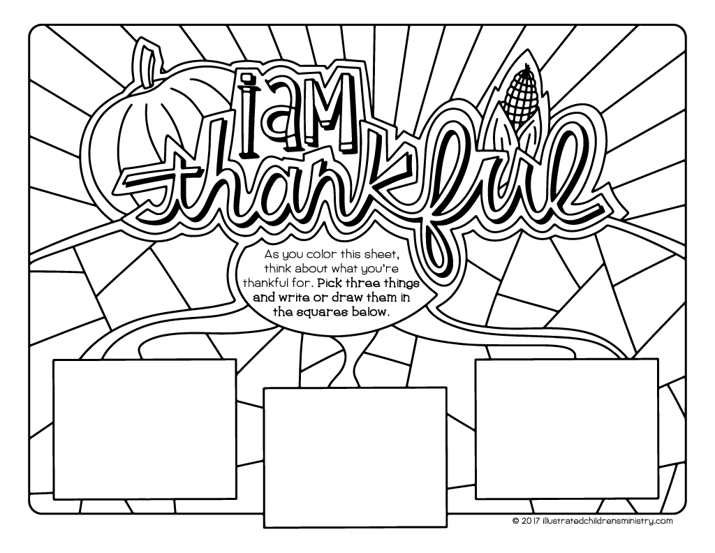 I Am Thankful Coloring Pages Illustrated Childrens Ministry