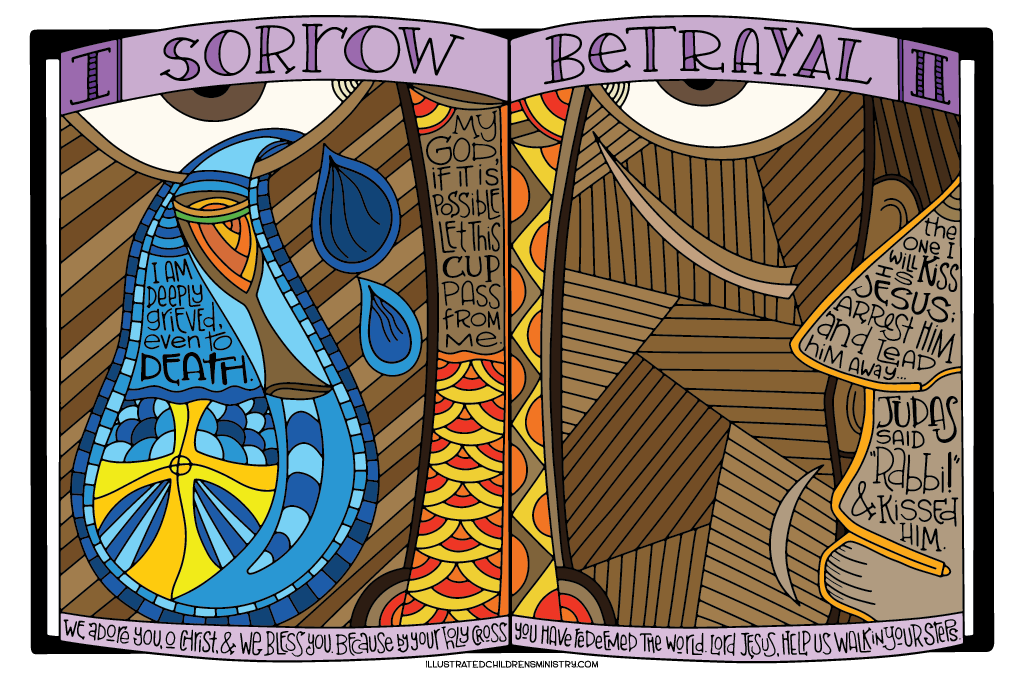 Coloring Poster for Stations of the Cross - Sorrow and Betrayal