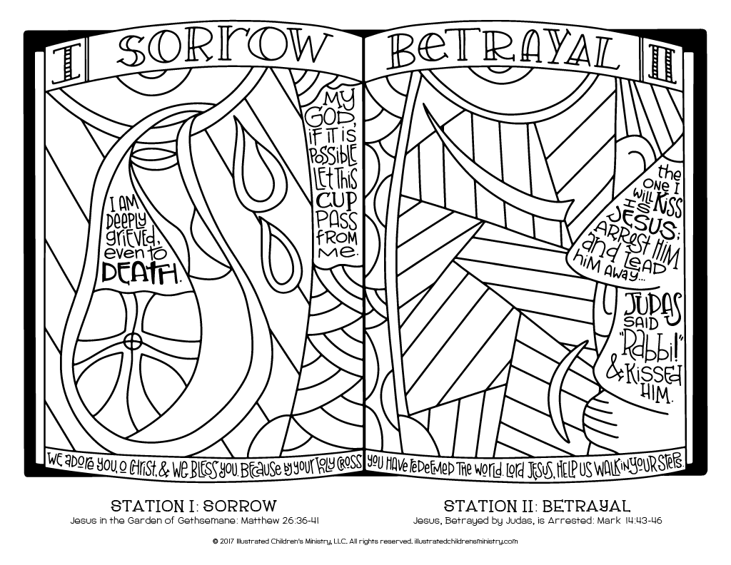 Stations of the Cross coloring page simple - Sorrow and Betrayal