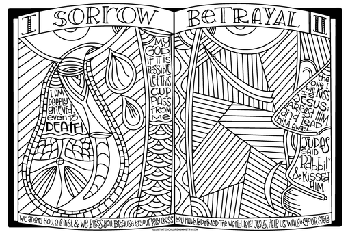 Stations of the Cross Coloring Poster - Sorrow and Betrayal