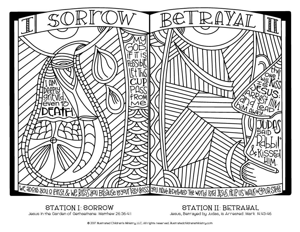 Stations of the Cross coloring page - Sorrow and Betrayal