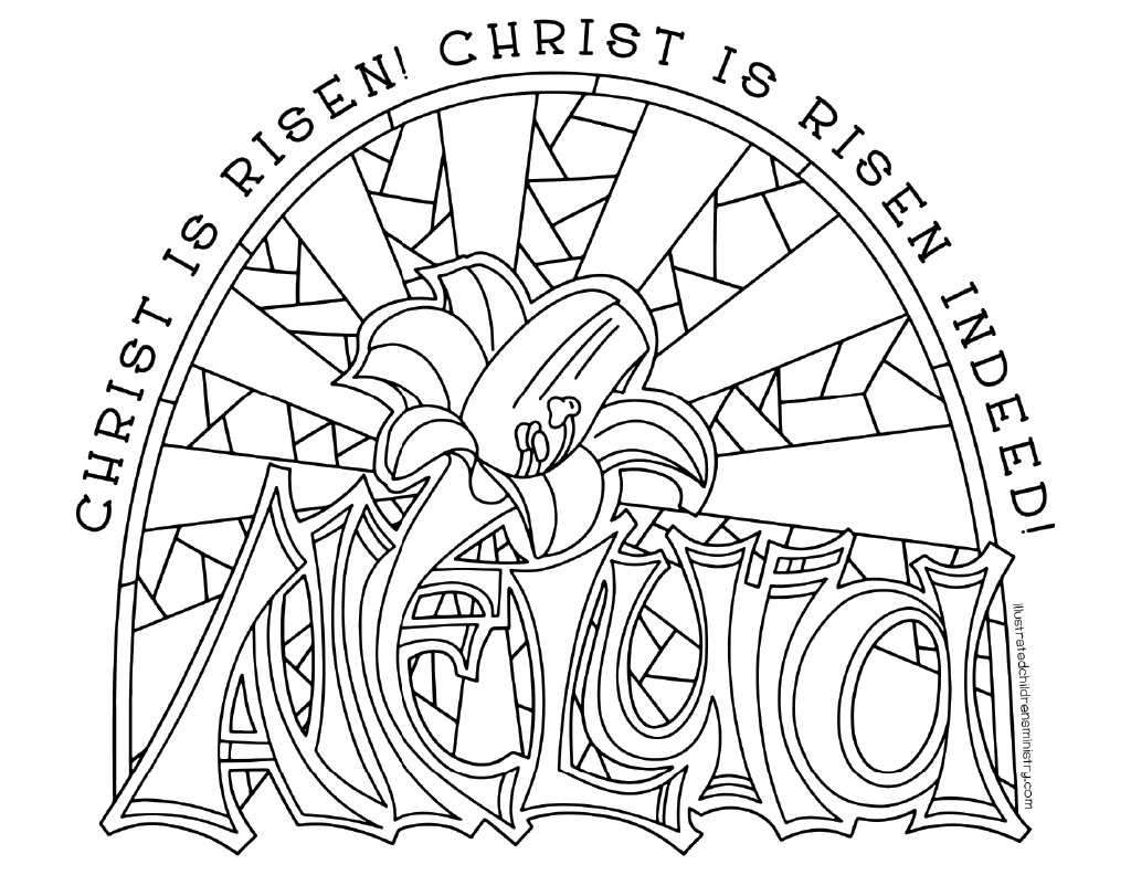 Alleluia Easter Lily Coloring Page & Poster B&W