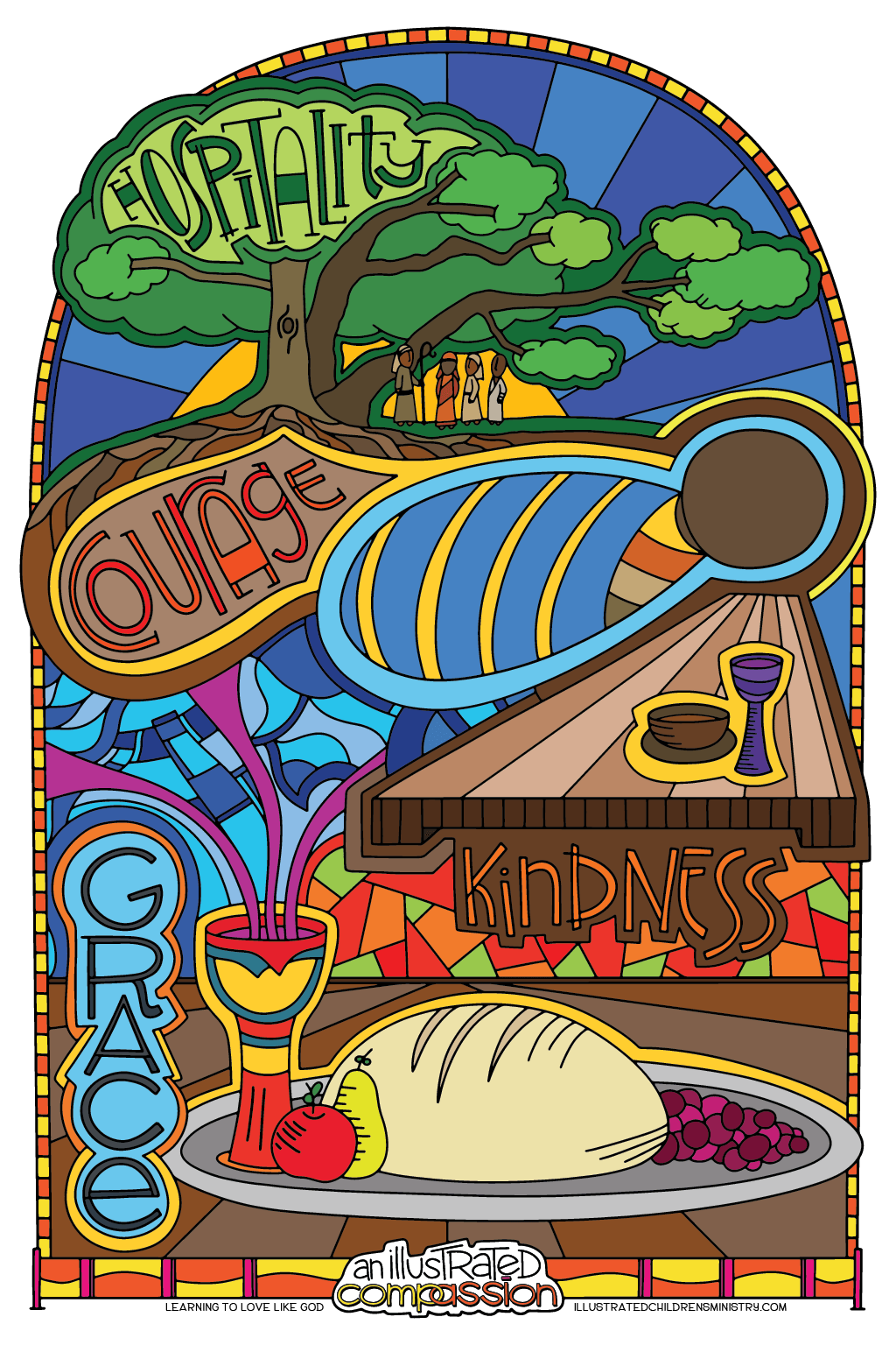 Hospitality, courage, kindness coloring poster