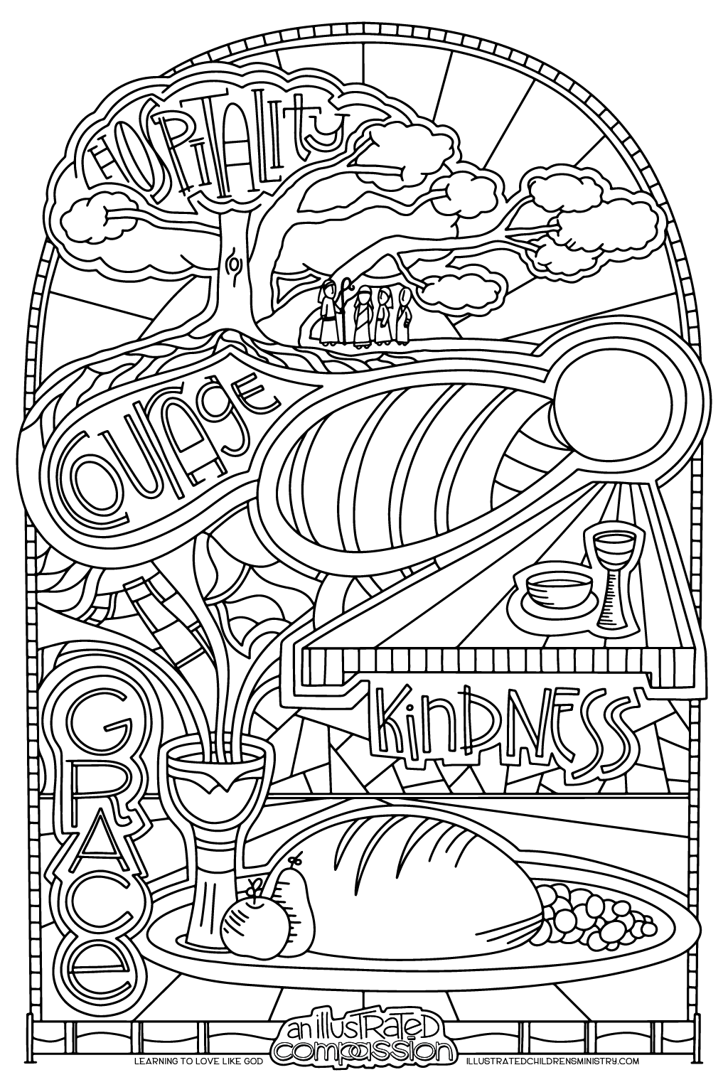 Hospitality, Courage, Kindness coloring poster B&W
