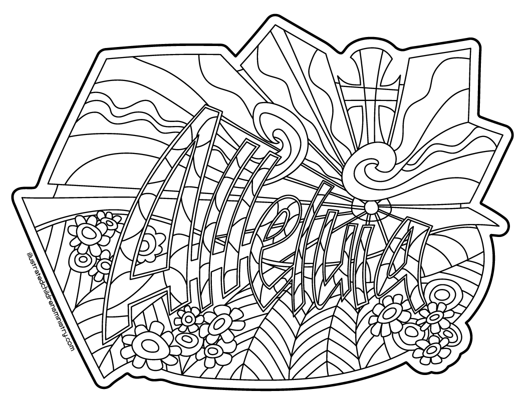 Alleluia Sunbeams Coloring Page & Poster B&W