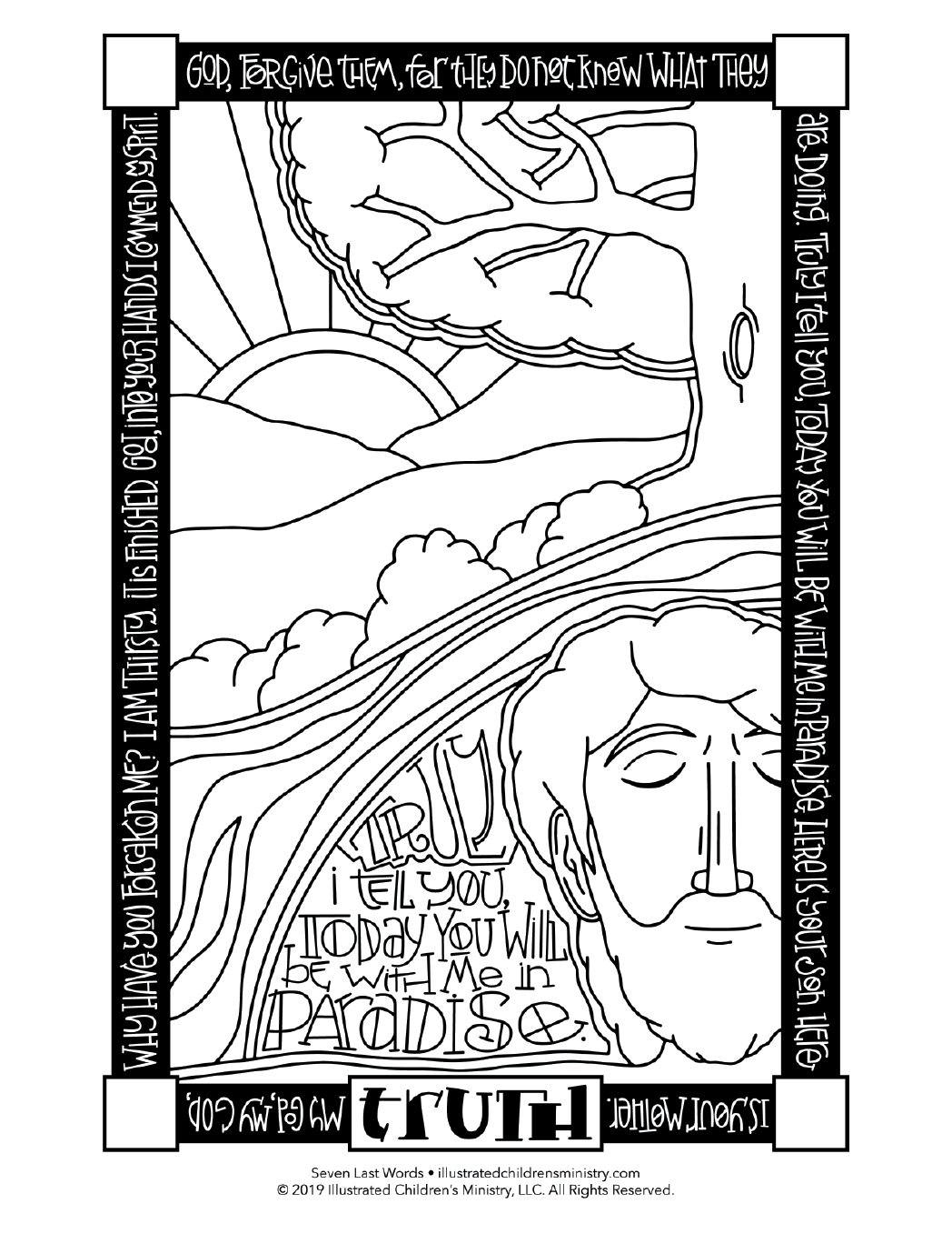 Seven Last Words coloring page simple - Truth
