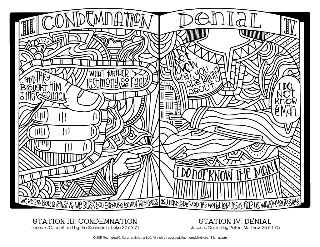 Stations of the Cross coloring page - Condemnation and Denial