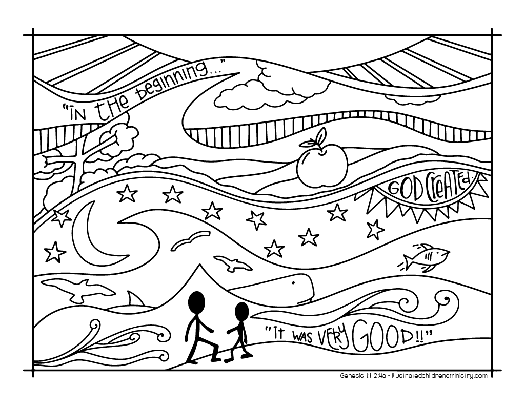 Creation story coloring sheet