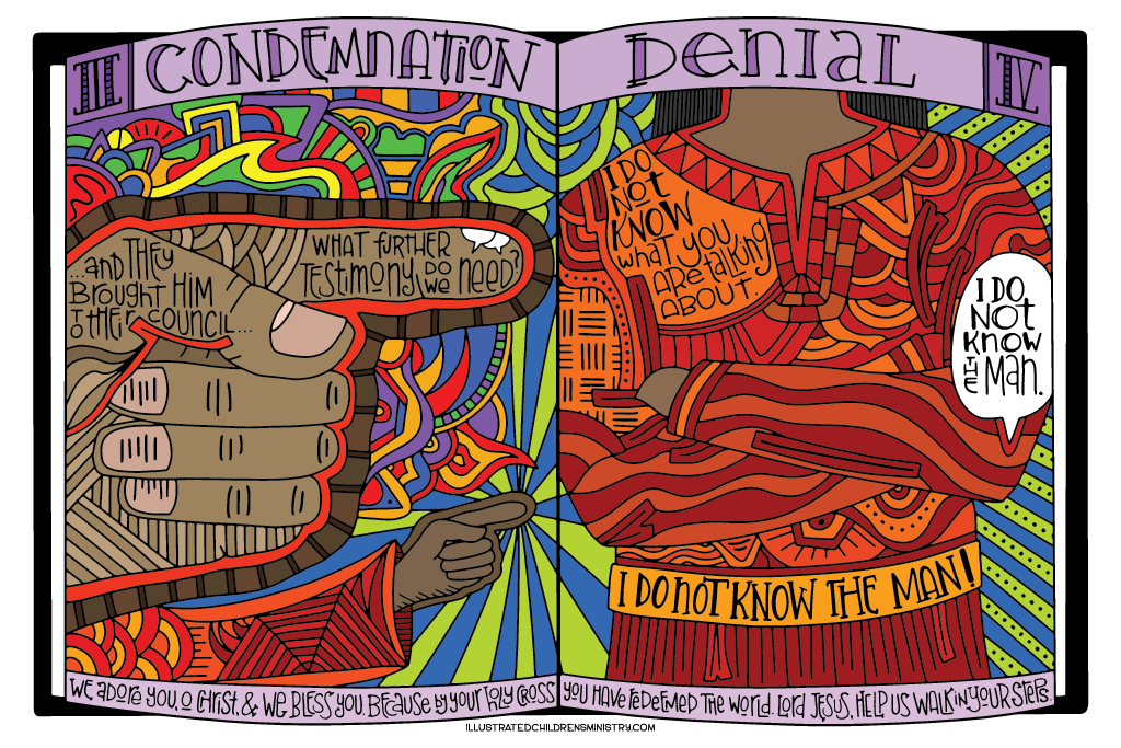 Coloring Poster for Stations of the Cross - Condemnation and Denial