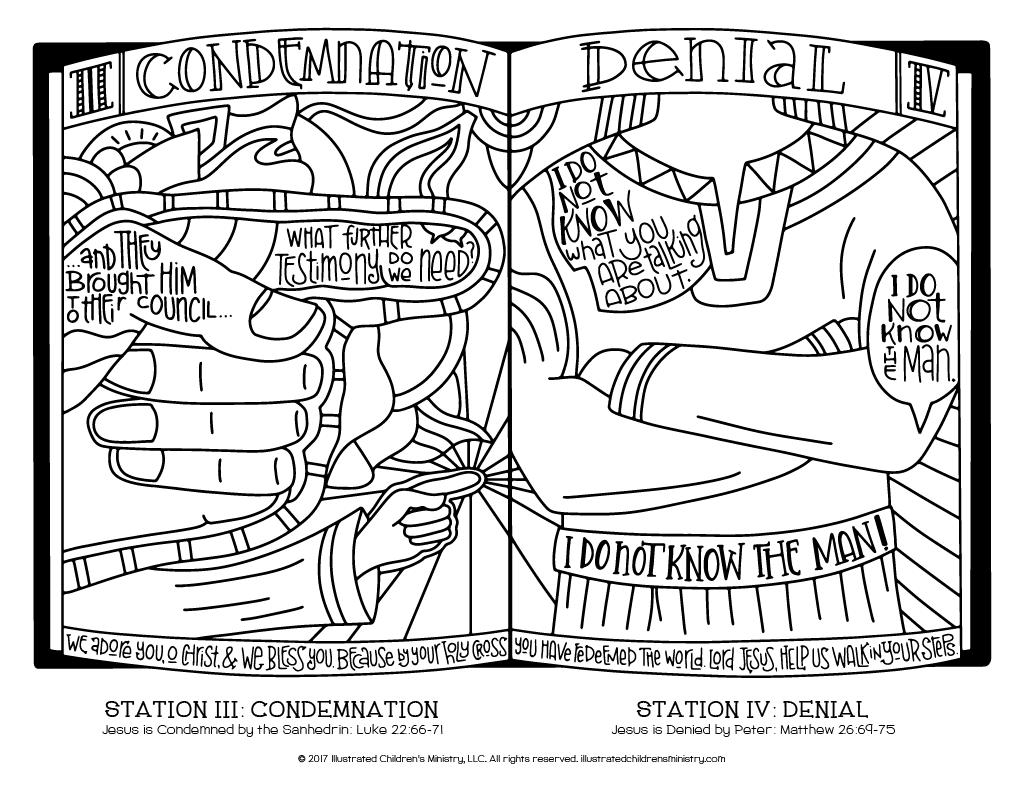 Stations of the Cross coloring page simple - Condemnation and Denial