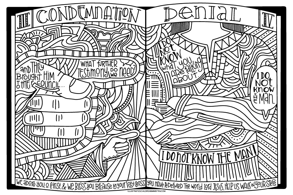 Stations of the Cross Coloring Poster - Condemnation and Denial