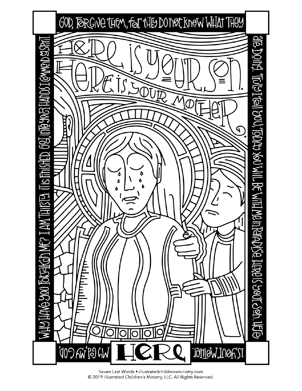 Seven Last Words coloring page - Here