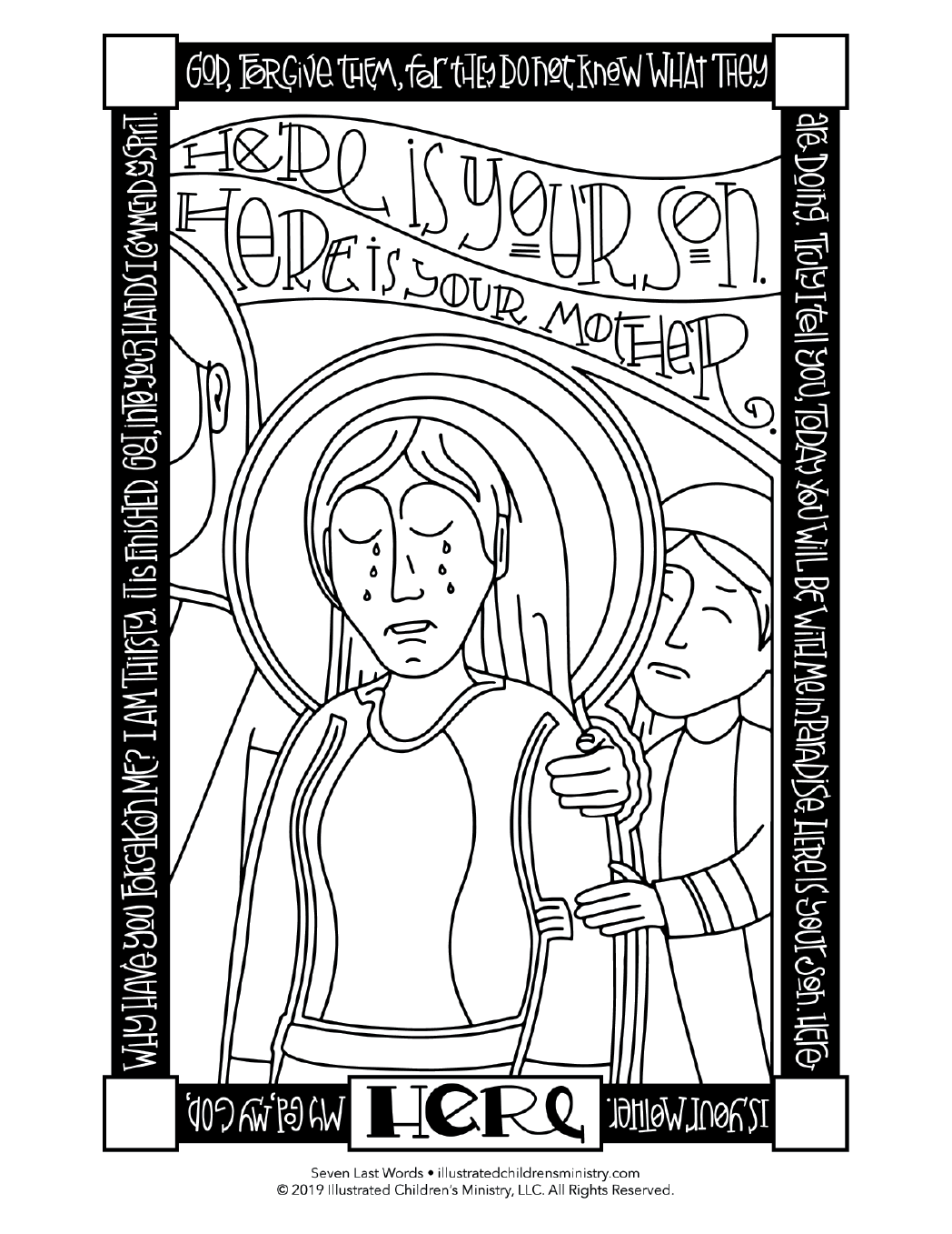 Seven Last Words coloring page simple - Here