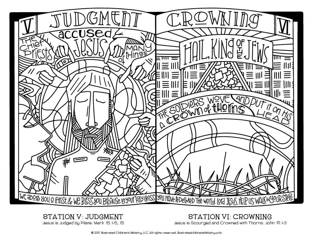 Stations of the Cross coloring page - Judgment and Crowning