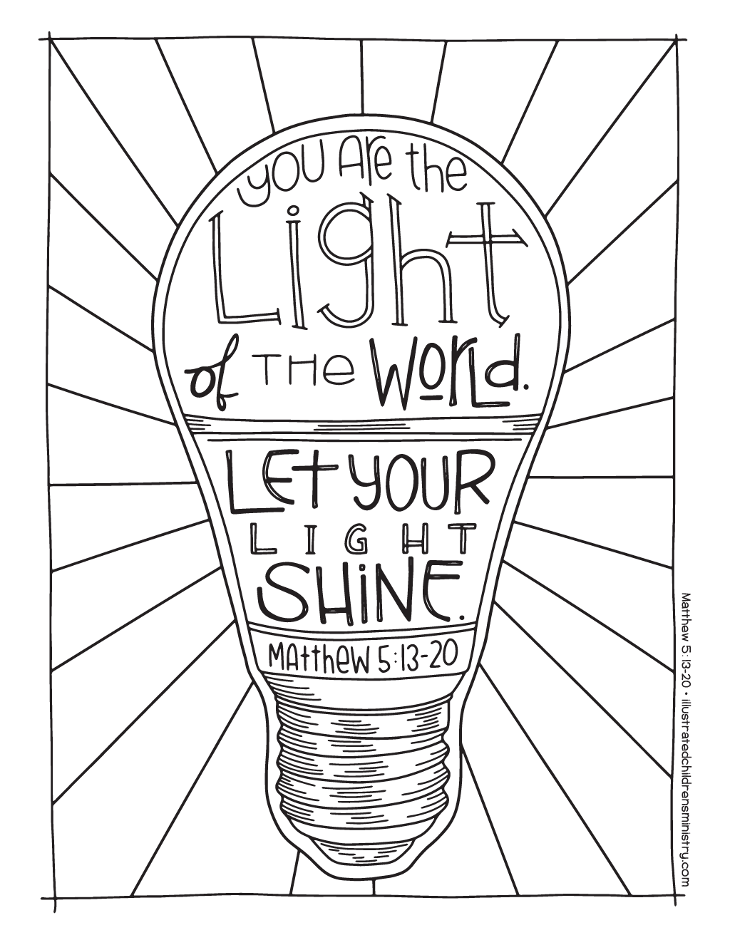 """Let your light shine"" coloring page"