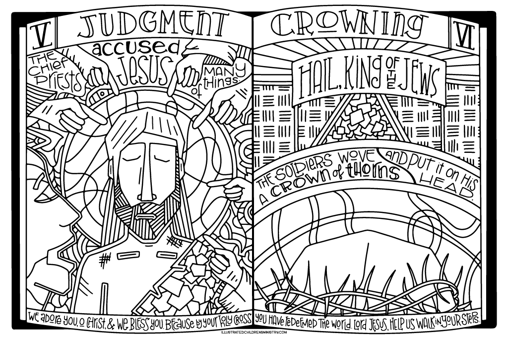 Stations of the Cross Coloring Poster - Judgment and Crowning