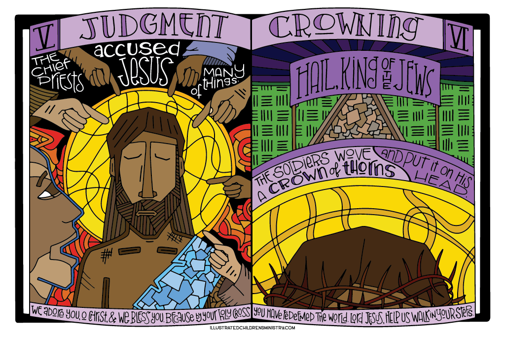 Coloring Poster for Stations of the Cross - Judgment and Crowning