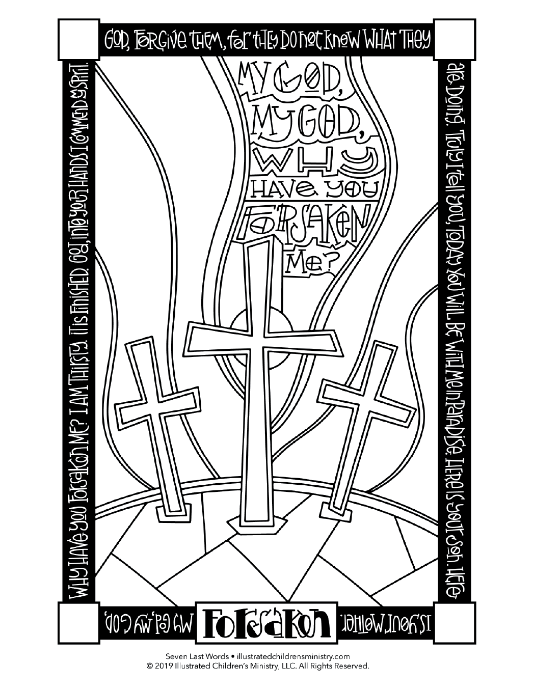 Seven Last Words coloring page simple - Forsaken