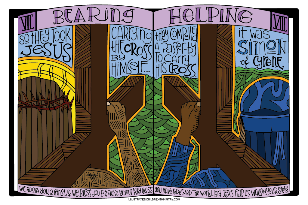 Coloring Poster for Stations of the Cross - Bearing and Helping
