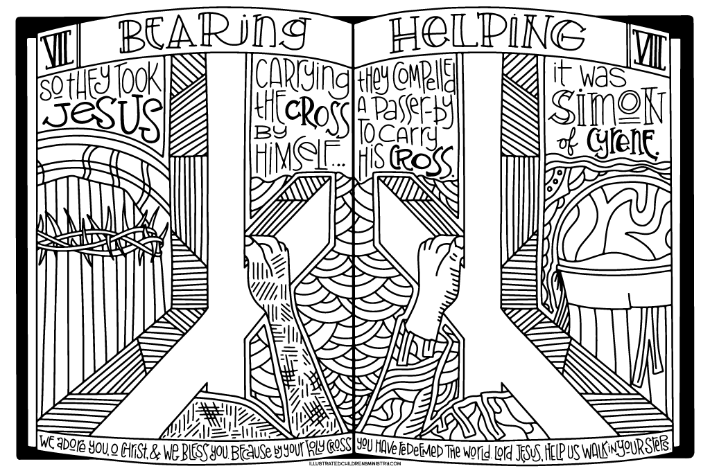 Stations of the Cross Coloring Poster - Bearing and Helping