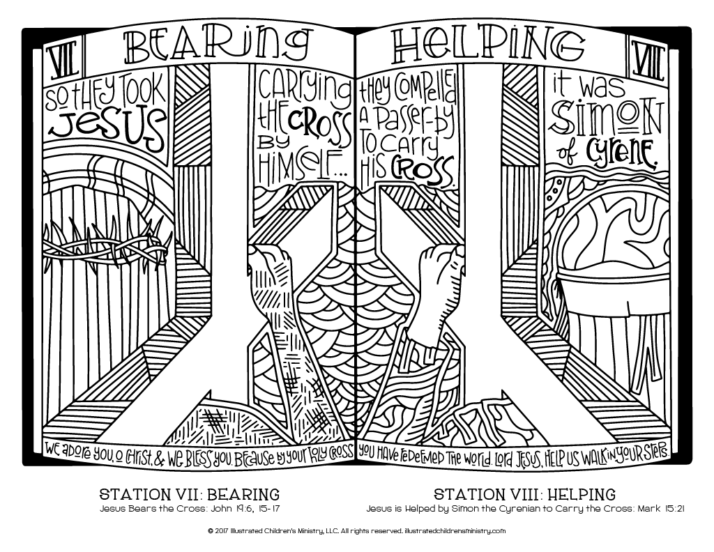 Stations of the Cross coloring page - Bearing and Helping
