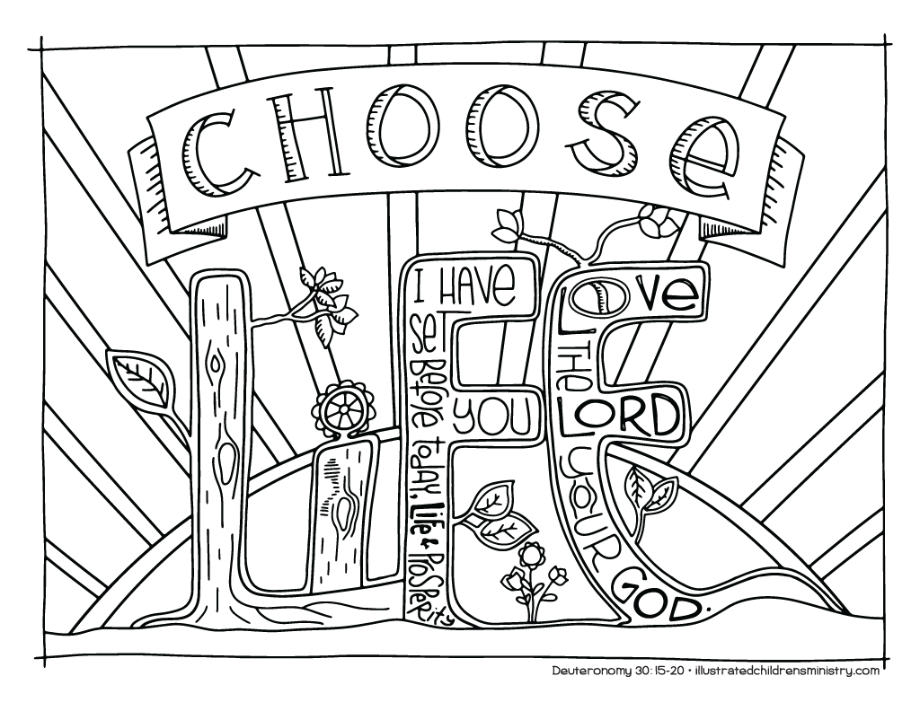 """Choose life"" coloring page"