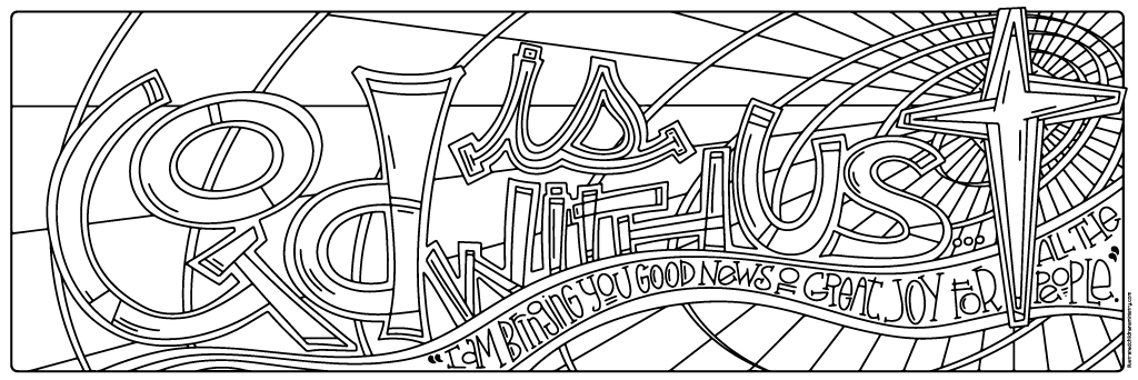 God is With Us Coloring Page B&W