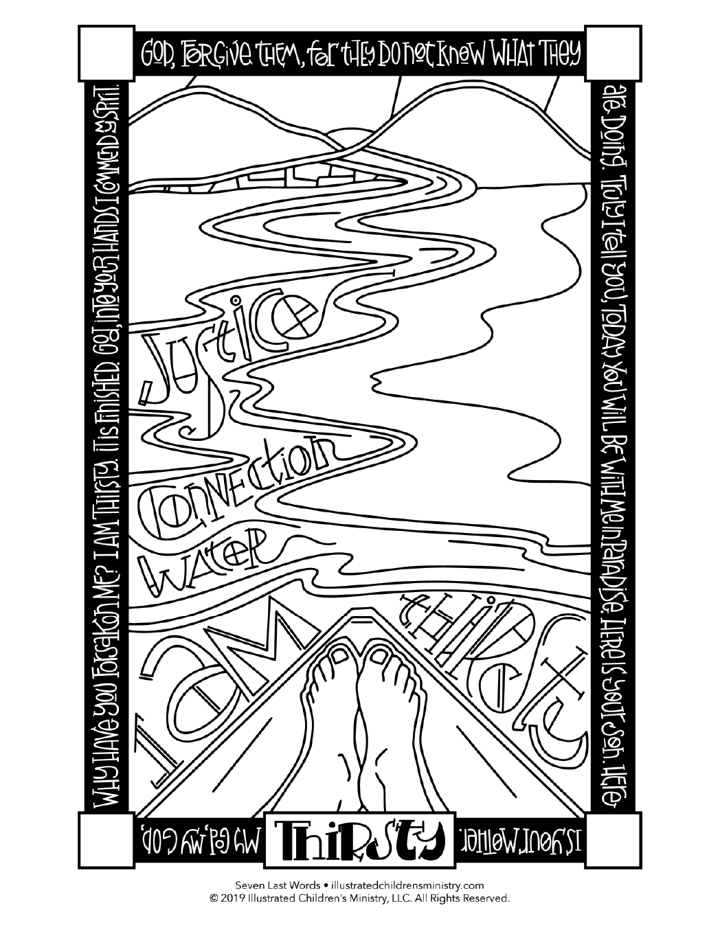 Seven Last Words coloring page simple - Thirsty
