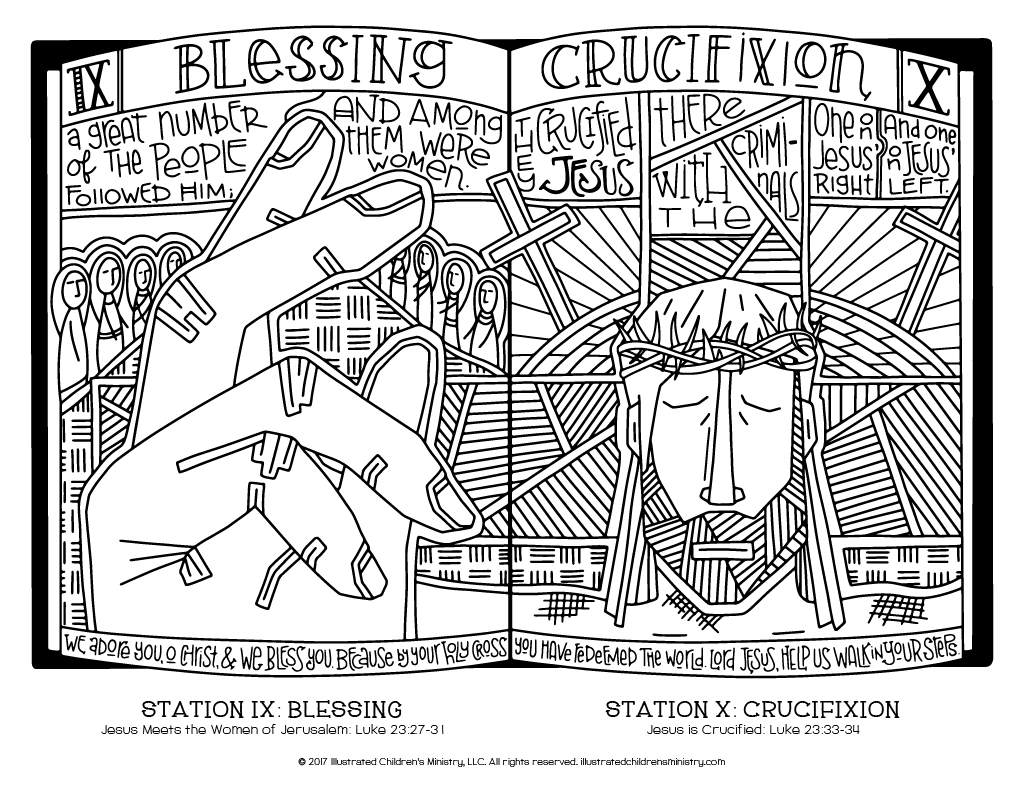 Stations of the Cross coloring page - Blessing and Crucifixion