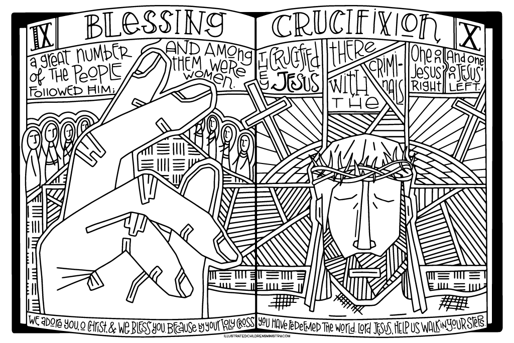Stations of the Cross Coloring Poster - Blessing and Crucifixion