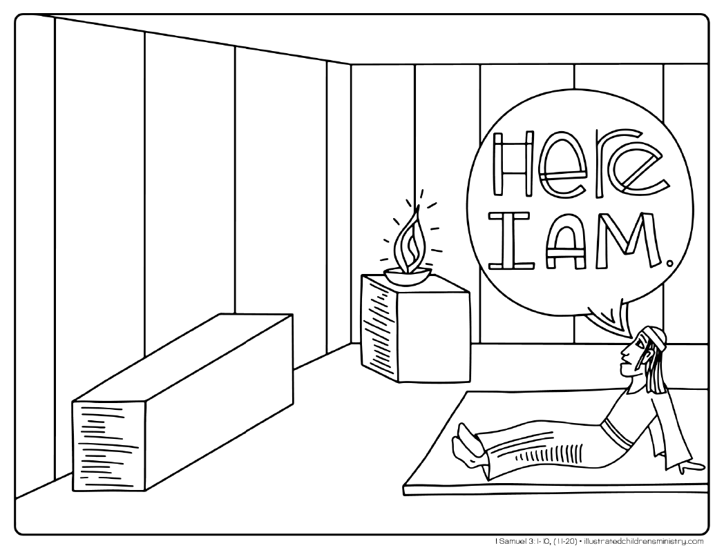 """Here I am"" coloring page"