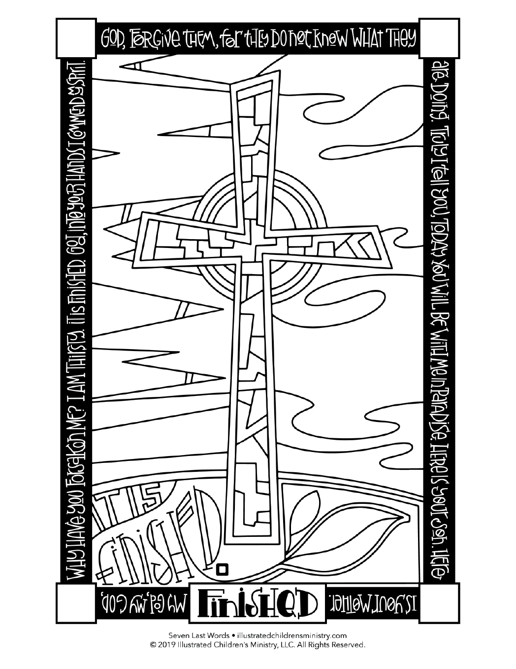 Seven Last Words coloring page simple - Finished
