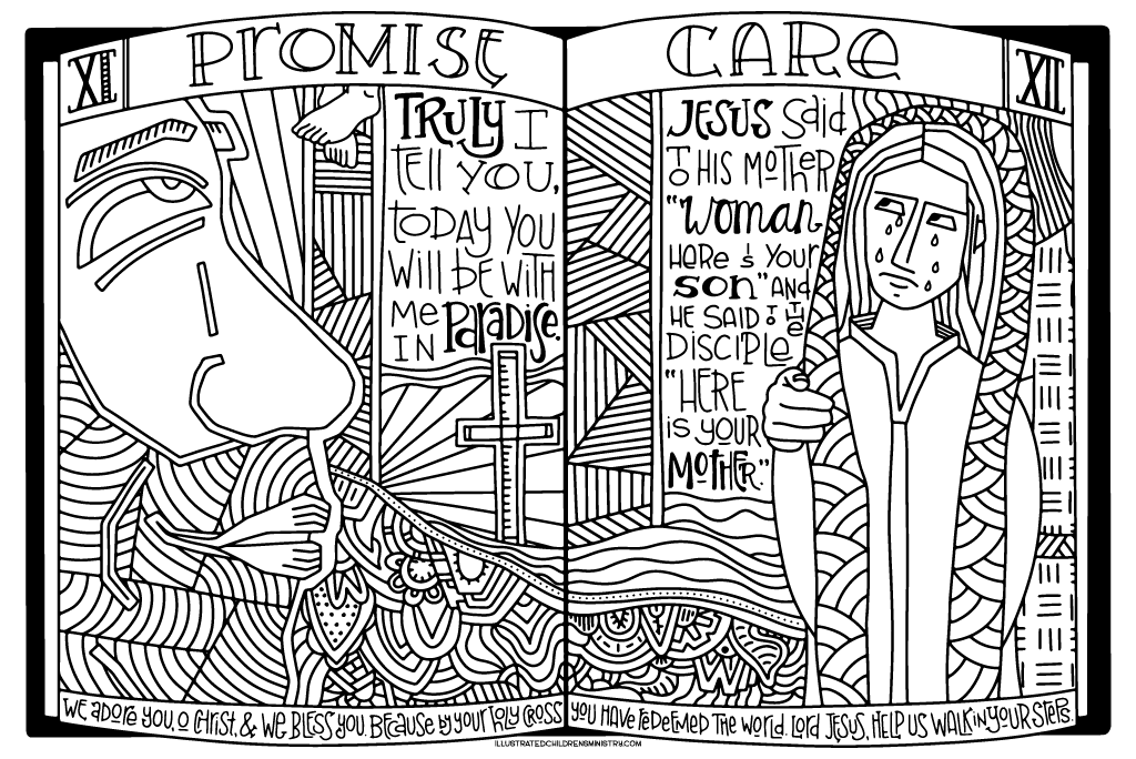 Stations of the Cross Coloring Poster - Promise and Care