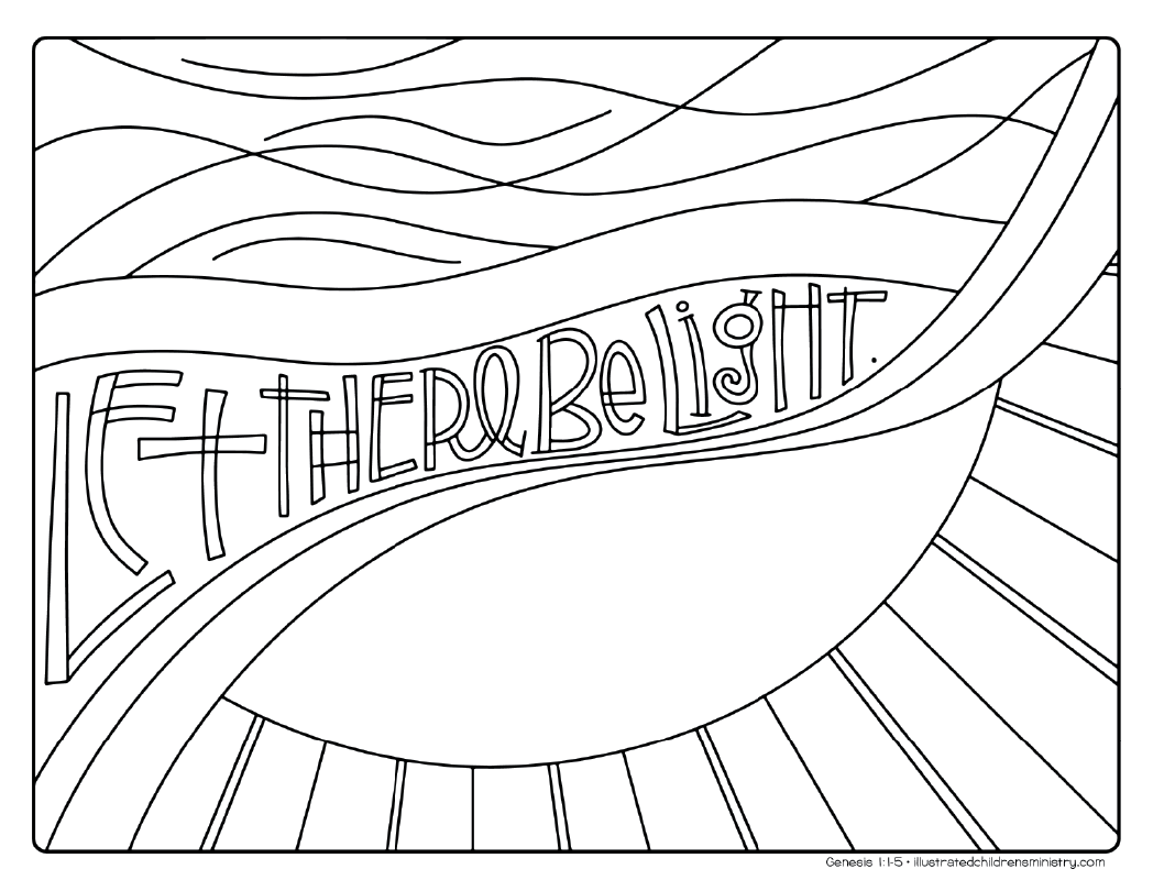 """Let there be light"" coloring page"