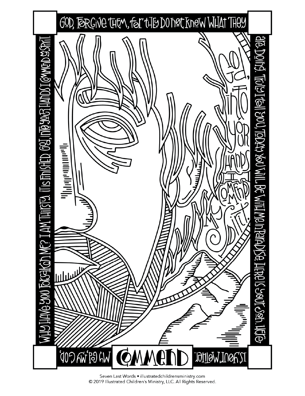 Seven Last Words coloring page - Commend