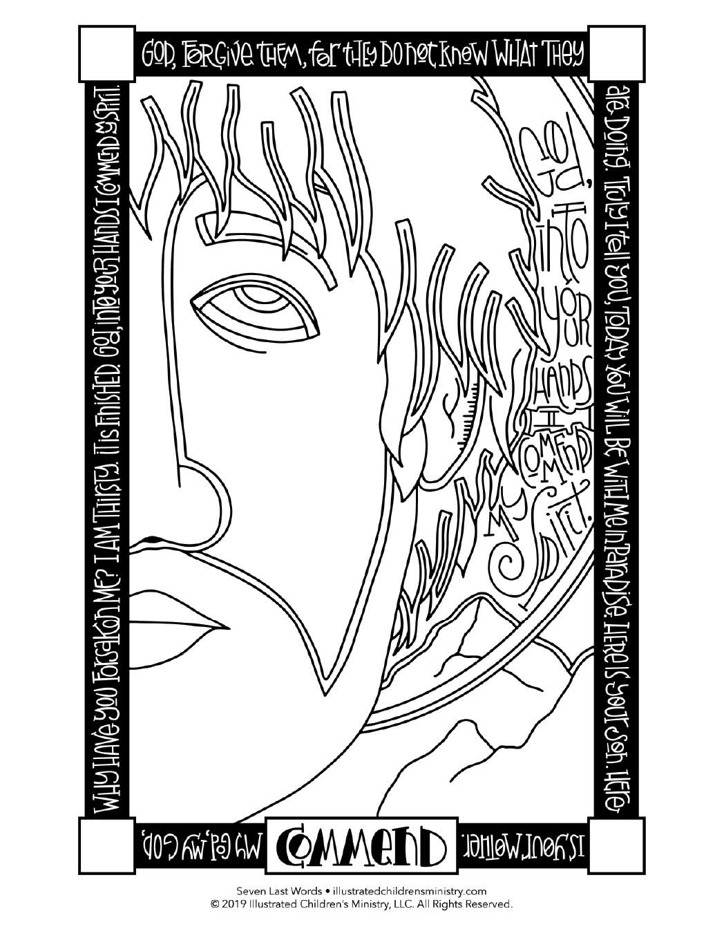 Seven Last Words coloring page simple - commend