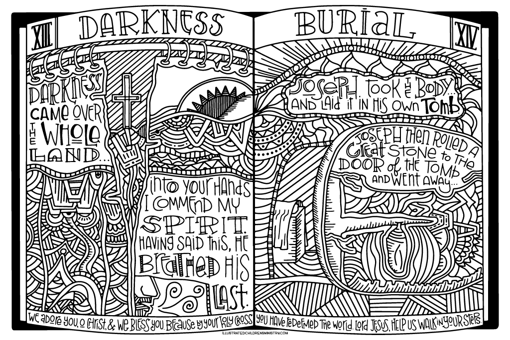 Stations of the Cross Coloring Poster - Darkness and Burial
