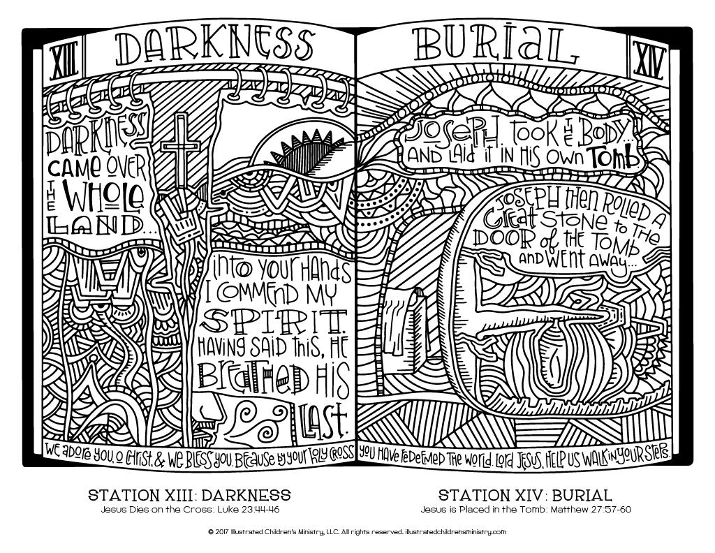 Stations of the Cross coloring page - Darkness and Burial