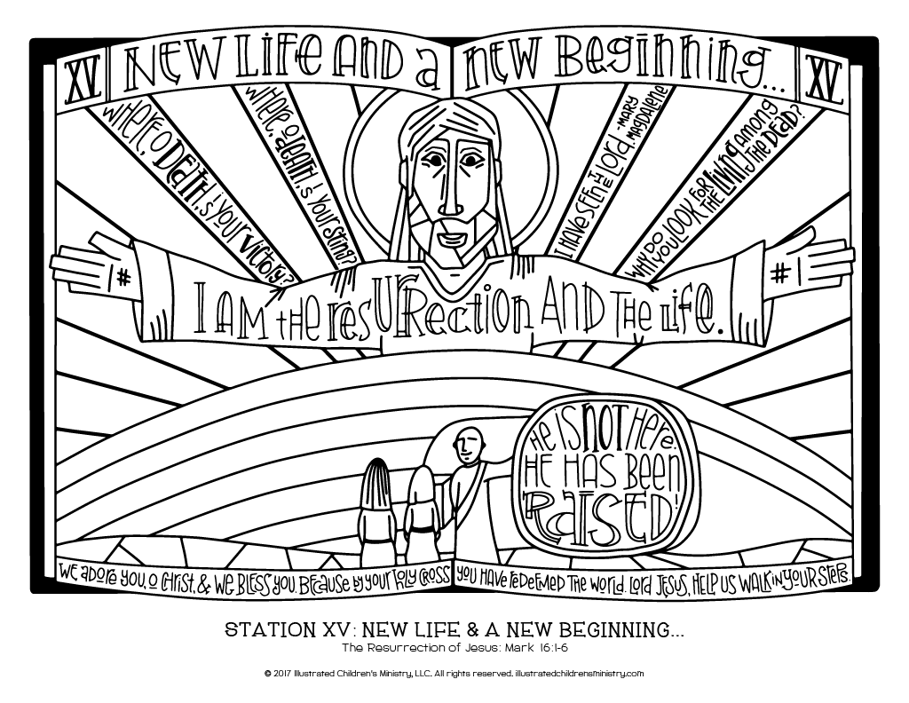 Stations of the Cross coloring page simple - New Life and a New Beginning