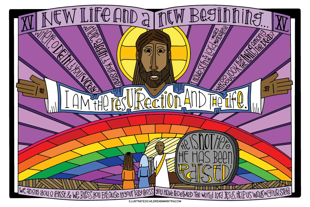 Coloring Poster for Stations of the Cross - New Life and a New Beginning