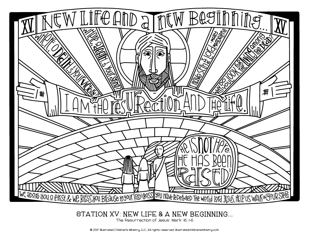 Stations of the Cross coloring page - New Life and a New Beginning