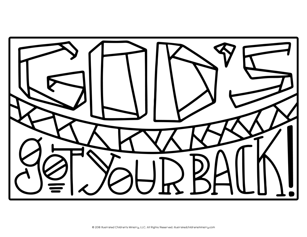 God's Got Your Back Coloring Page B&W